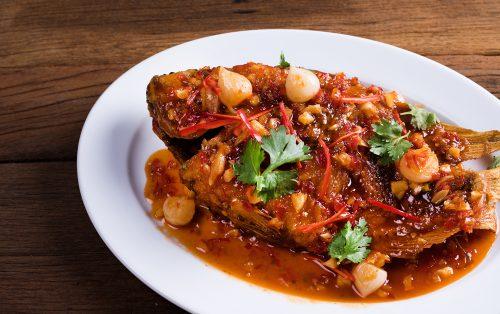 ปลาทับทิมราดพริก เมนูแสนอร่อย