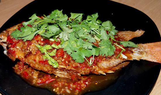 เมนู ปลาทับทิมราดพริก